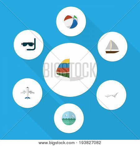 Flat Icon Season Set Of Aircraft, Deck Chair, Ocean And Other Vector Objects. Also Includes Surfing, Round, Ball Elements.