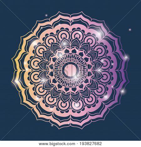 blue color background with brightness and colorful brilliant ornamental flower mandala vintage decorative vector illustration