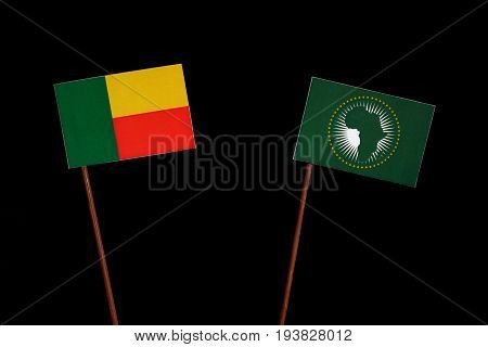 Benin Flag With African Union Flag Isolated On Black Background