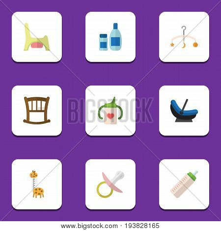 Flat Icon Infant Set Of Infant Cot, Nipple, Mobile And Other Vector Objects. Also Includes Bed, Cosmetics, Cot Elements.