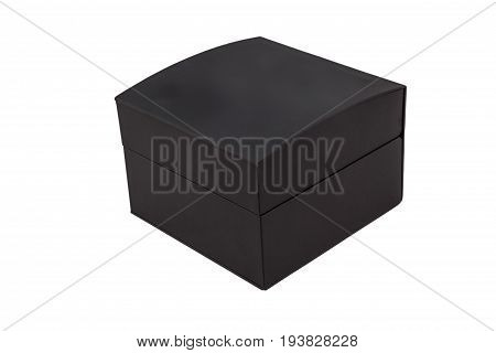 Black closed jewelry gift box isolated on white background