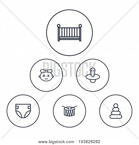 Set Of 6 Baby Outline Icons Set.Collection Of Diaper, Pyramid, Nipple And Other Elements.
