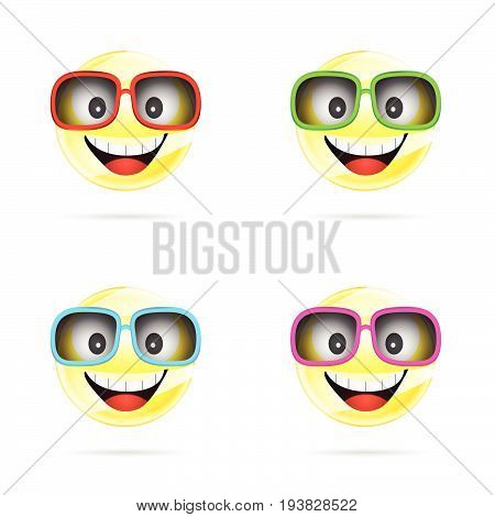 Smiley With Sunglasses In Four Colors Illustration
