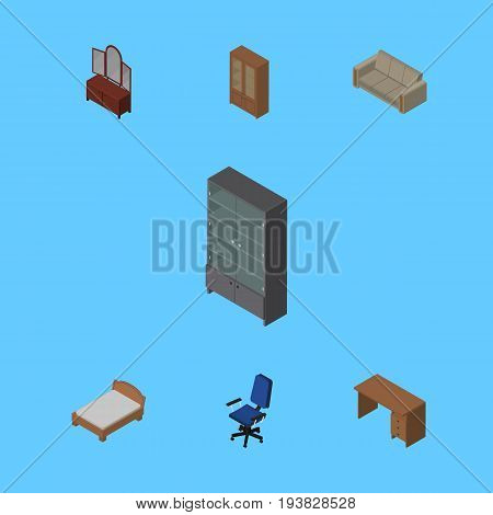 Isometric Furnishing Set Of Drawer, Cabinet, Table And Other Vector Objects. Also Includes Cupboard, Settee, Couch Elements.