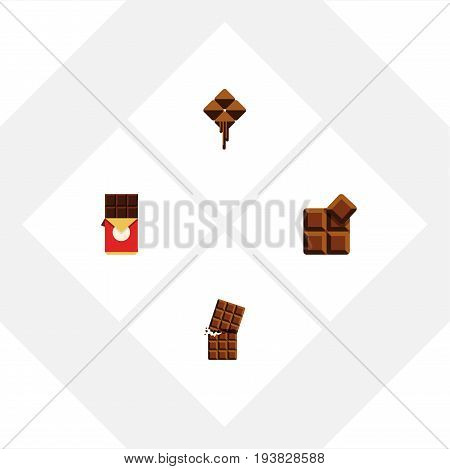 Flat Icon Bitter Set Of Chocolate Bar, Delicious, Wrapper And Other Vector Objects. Also Includes Dessert, Box, Delicious Elements.