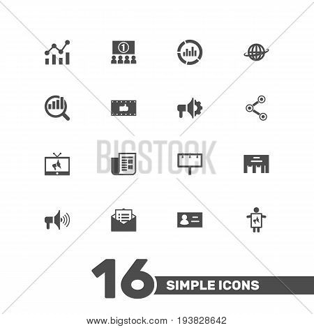 Set Of 16 Trade Icons Set.Collection Of Inbox, World, Statistics And Other Elements.