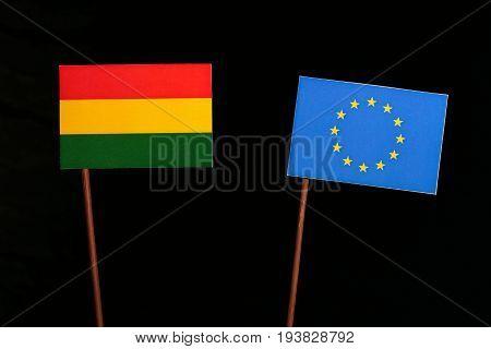 Bolivian Flag With European Union (eu) Flag Isolated On Black Background