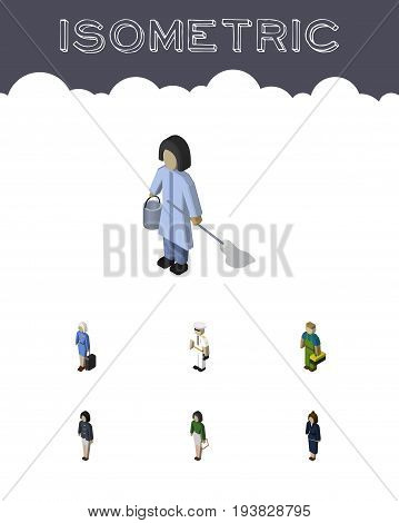 Isometric Human Set Of Plumber, Hostess, Girl And Other Vector Objects. Also Includes Cleaner, Businesswoman, Housekeeper Elements.