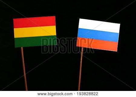 Bolivian Flag With Russian Flag Isolated On Black Background