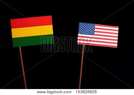 Bolivian Flag With Usa Flag Isolated On Black Background