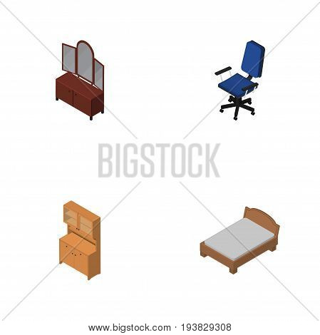 Isometric Furnishing Set Of Office, Cupboard, Drawer And Other Vector Objects. Also Includes Closet, Armchair, Sideboard Elements.