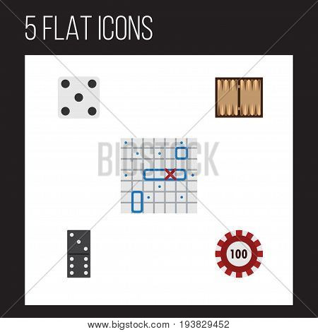 Flat Icon Entertainment Set Of Sea Fight, Bones Game, Dice And Other Vector Objects. Also Includes Domino, Chip, Poker Elements.