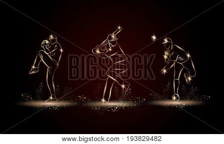 Baseball players set. Golden linear Baseball player illustration for sport banner, background and flyer.