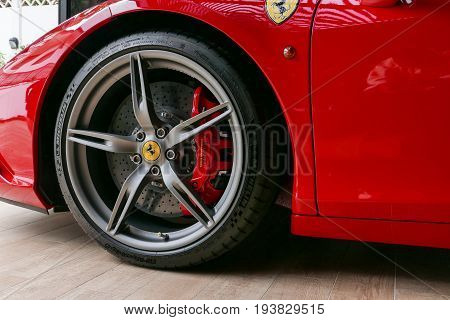 Red Ferrari F430 Scuderia Front Wheel Brake System With Logotype. At Bangkok, Thailand, July 2017 ;