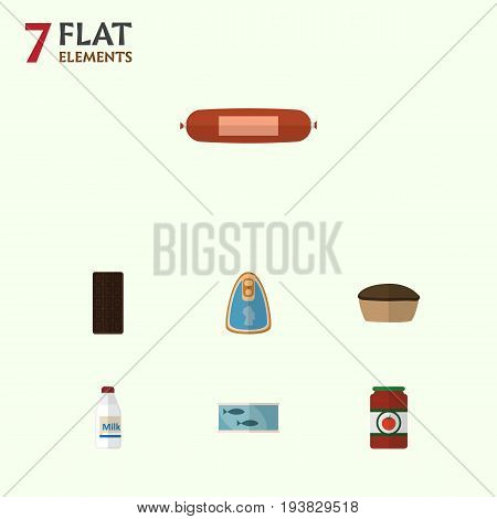 Flat Icon Meal Set Of Canned Chicken, Kielbasa, Confection And Other Vector Objects. Also Includes Bar, Sausage, Tuna Elements.