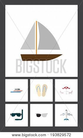 Flat Icon Summer Set Of Boat, Beach Sandals , Recliner Vector Objects. Also Includes Plane, Eyeglasses, Table Elements.