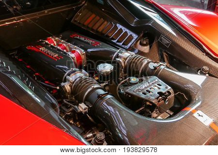Red Ferrari F430 Scuderia Engine System With Logotype. At Bangkok, Thailand, July 2017 ; Editorial U