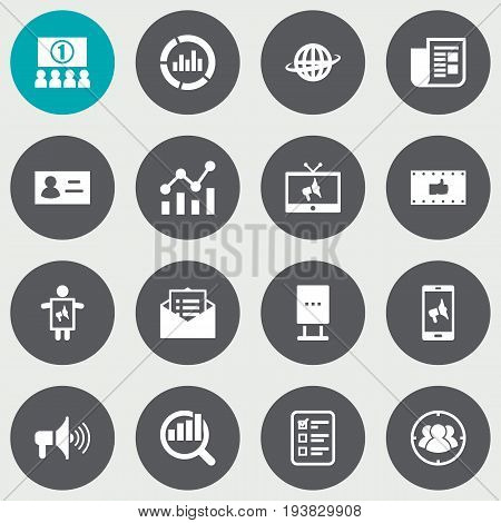 Set Of 16 Trade Icons Set.Collection Of Auditorium, Customer Summary, Ads And Other Elements.