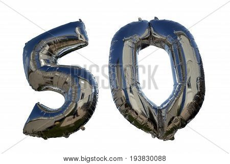 silver balloons for a 50th anniversary floating against white background