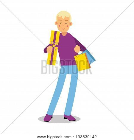 Young smiling blonde man in purple pullover standing with shopping bags cartoon character vector Illustration isolated on a white background