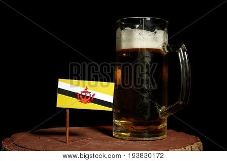 Brunei Flag With Beer Mug Isolated On Black Background
