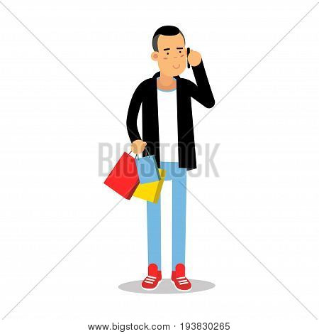 Young man in fashionable clothes standing with purchases and talking on mobile phone cartoon character vector Illustration isolated on a white background