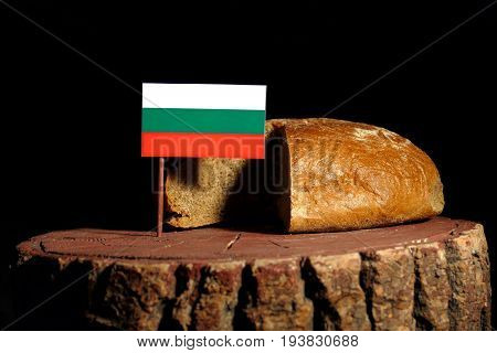 Bulgarian Flag On A Stump With Bread Isolated