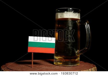 Bulgarian Flag With Beer Mug Isolated On Black Background