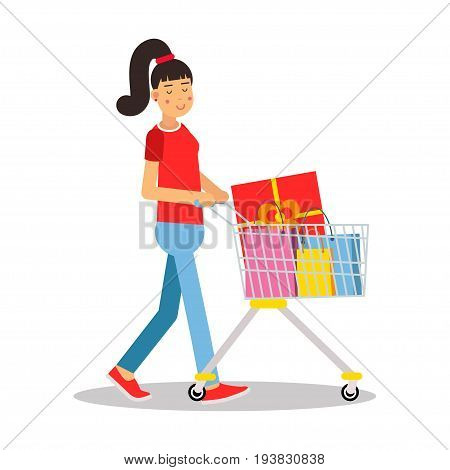 Young woman in casual clothes with a pony tail walking with a shopping cart cartoon character vector Illustration isolated on a white background