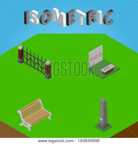 Isometric Urban Set Of Seat, Dc Memorial, Aiming Game And Other Vector Objects. Also Includes Fence, Bench, Metal Elements.