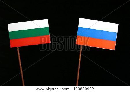 Bulgarian Flag With Russian Flag Isolated On Black Background