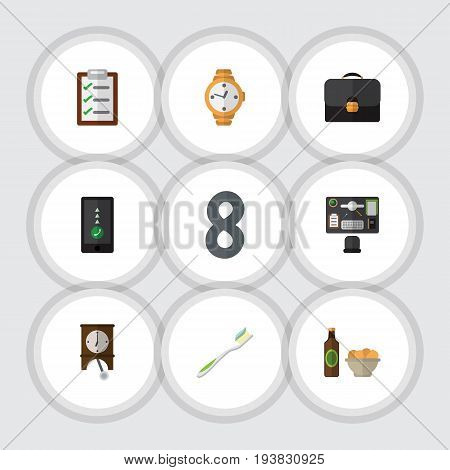 Flat Icon Lifestyle Set Of Bureau, Questionnaire, Dental And Other Vector Objects. Also Includes Questionnaire, Telephone, Cellphone Elements.