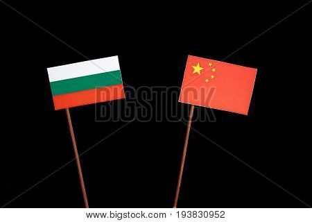 Bulgarian Flag With Chinese Flag Isolated On Black Background
