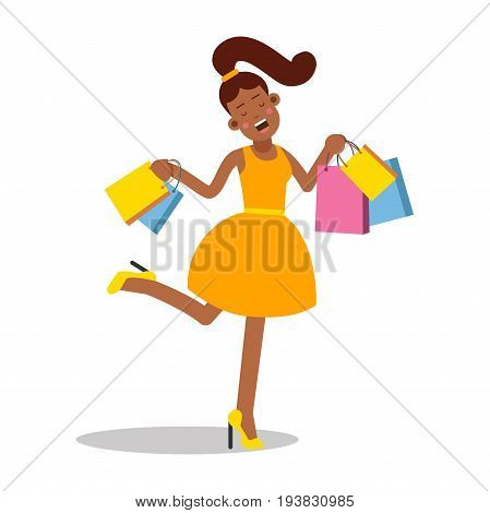 Young happy smiling woman in yellow dress standing with shopping bags cartoon character vector Illustration isolated on a white background