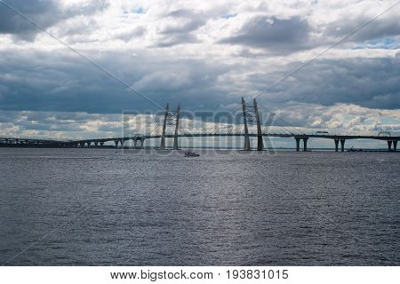 Cable stayed bridge over Korabelny fairway. Saint-Petersburg.