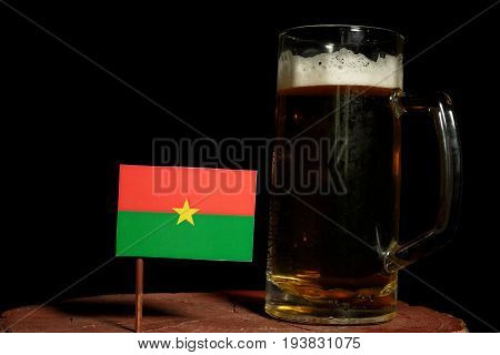 Burkina Faso Flag With Beer Mug Isolated On Black Background