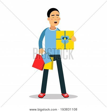 Young man standing with yellow gift box and purchases cartoon character vector Illustration isolated on a white background