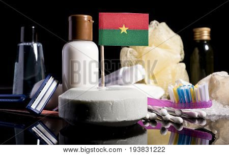Burkina Faso Flag In The Soap With All The Products For The People Hygiene