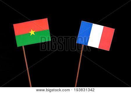 Burkina Faso Flag With French Flag Isolated On Black Background