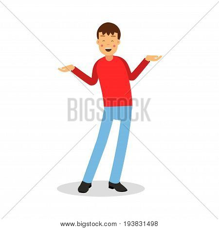 Young happy smiling man in red pullover standing cartoon character vector Illustration isolated on a white background