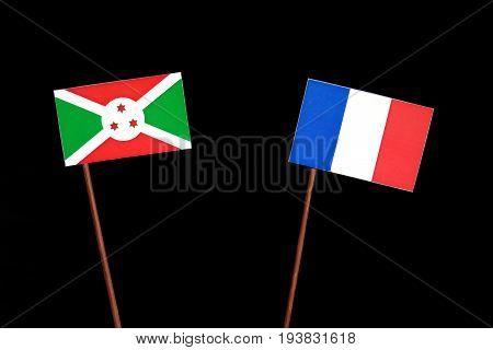 Burundi Flag With French Flag Isolated On Black Background