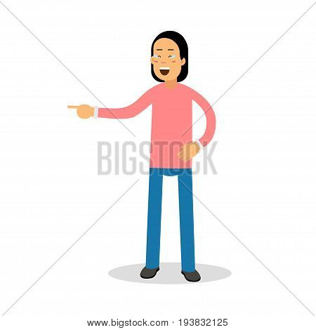 Young brunette man in pink pullover standing and laughing with tears cartoon character vector Illustration isolated on a white background