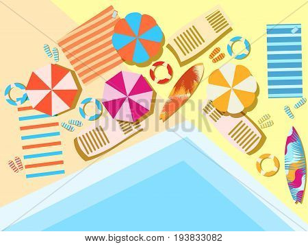 Swimming Pool, Top View. Sunbeds And Umbrellas From The Sun, Rest At The Pool. Vector Illustration