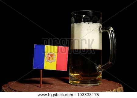 Andorra Flag With Beer Mug Isolated On Black Background
