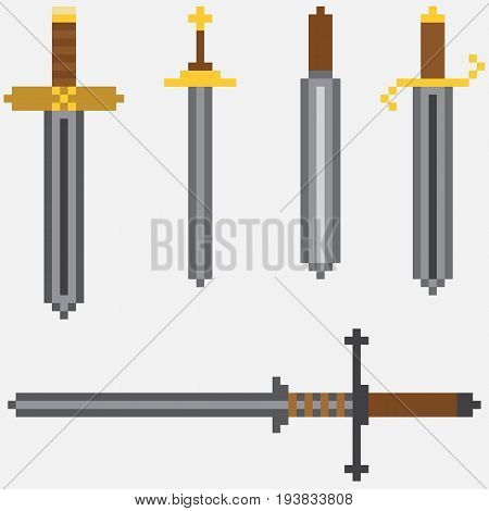 Vector set of classic pixel swords. Cartoon steel blades for fun computer and console games or illustrations
