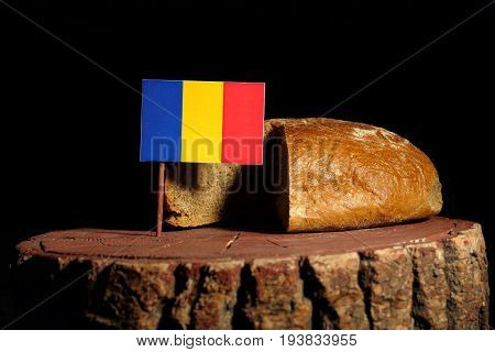 Chad Flag On A Stump With Bread Isolated