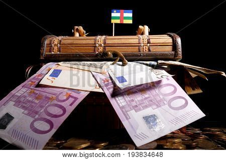 Central African Republic Flag On Top Of Crate Full Of Money