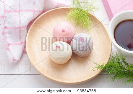 Chinese pastry or moon cake Chinese festival dessert with pastel color