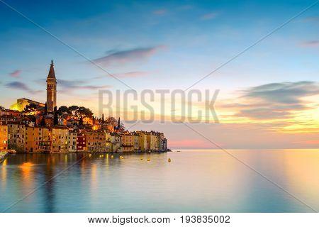 Rovinj old town at night in Adriatic sea coast of Croatia Europe