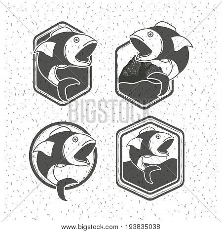 white background with sparkle of silhouette set shield with types of fish big mouth open vector illustration